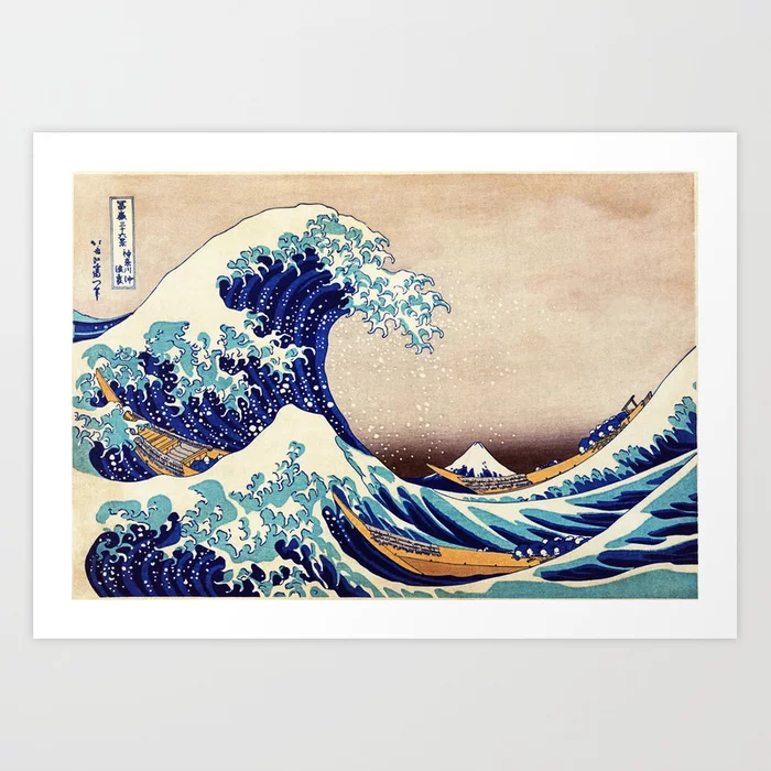 Colorful rendition of the Great Wave Off Kanagawa by Katsushika Hokusai. Tags: Great Wave,Katsushika Hokusai,Kanagawa,hokusai,wave,japanese,great wave kanagawa,vintage,artistic,japanese vintage,art,fine art,painting,mount fuji,woodblock,ukiyo e,antique,asian,japan