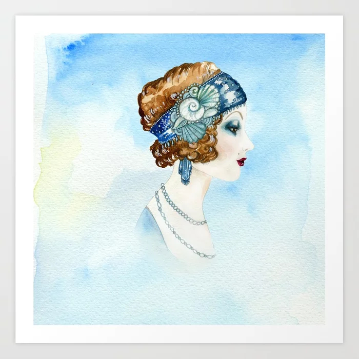 Art Nouveau Portrait Watercolor Art Print