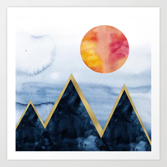 Blue Mountains With Gold Art Print