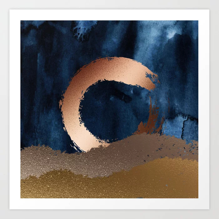 Philip Bowman Navy Blue, Gold And Copper Art Print
