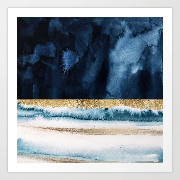 Navy Blue, Gold And White Abstract Watercolor Art Art Print