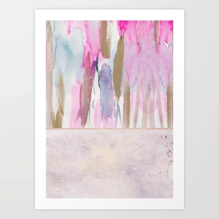 Rose Blush, Dreamy Pink And Blue Modern Abstract Art Print