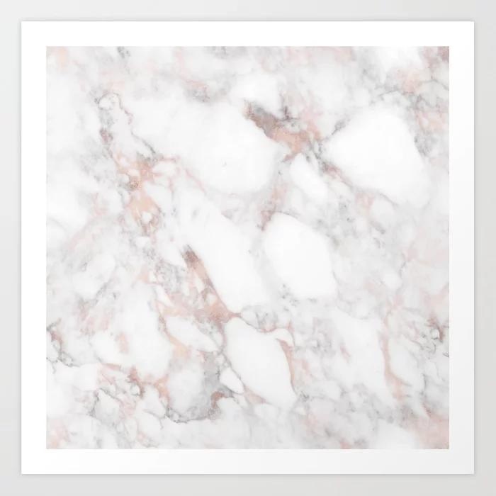 Rose Gold Marble Blush Pink Metallic Foil Art Print