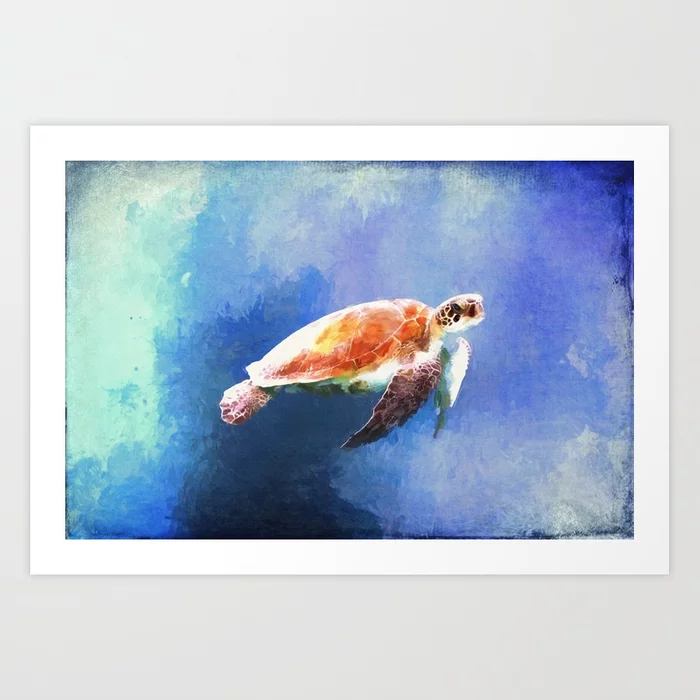 Sea Turtle Watercolor Art Print