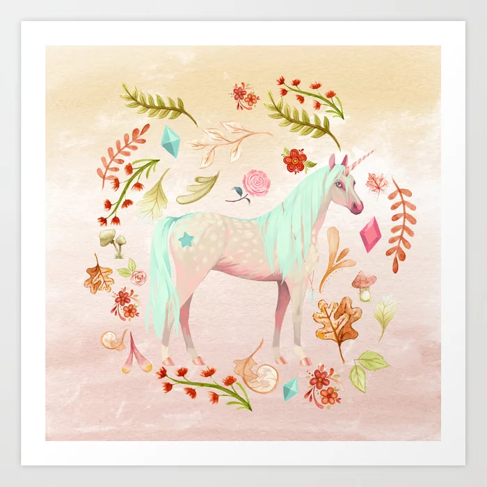 Unicorn Watercolor Painting Art Print