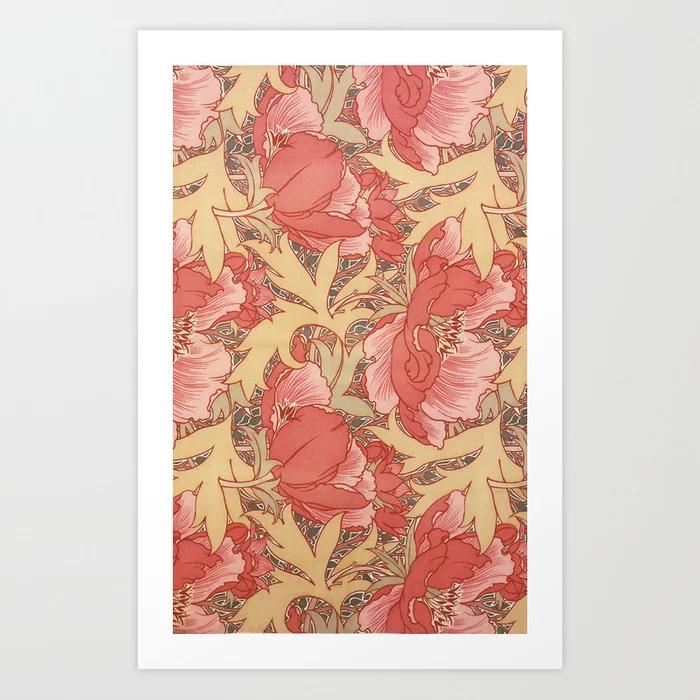 William Morris Poppies Floral Art Nouveau Art Print