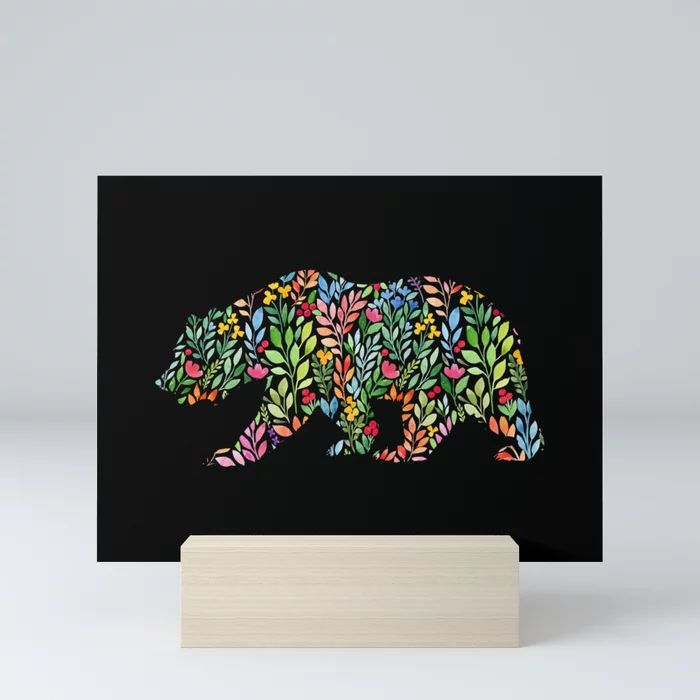 Bear Floral Watercolor Modern Art Mini Art Print