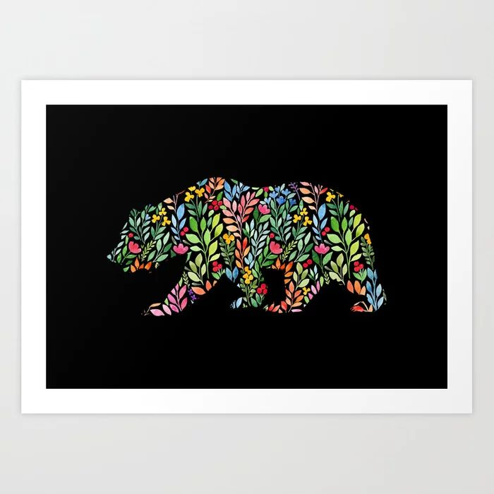 Bear Floral Watercolor Art