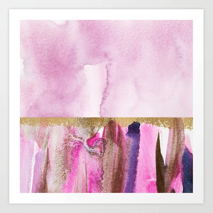 Light Magenta, Gold And Purple Abstract Watercolor Art Print
