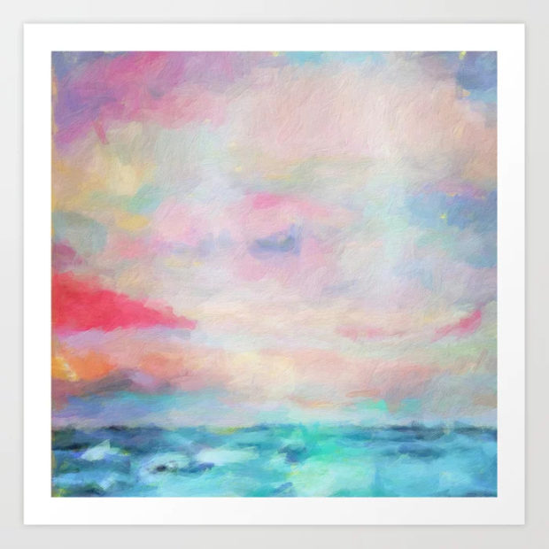 Seascape Abstract Beach Art Painting Art Print