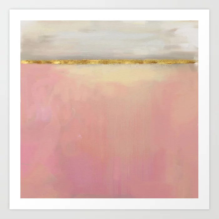 Serenity: Pink, Gold And Grey Abstract Art Painting