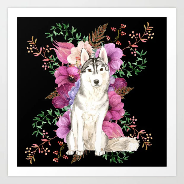 Siberian Husky Floral Watercolor Art Print