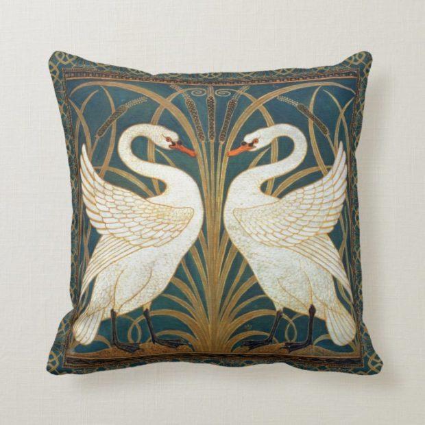 Walter Crane Swan, Rush And Iris Art Nouveau Throw Pillow